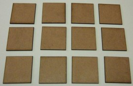 2mm thick MDF 40mm by 40mm bases